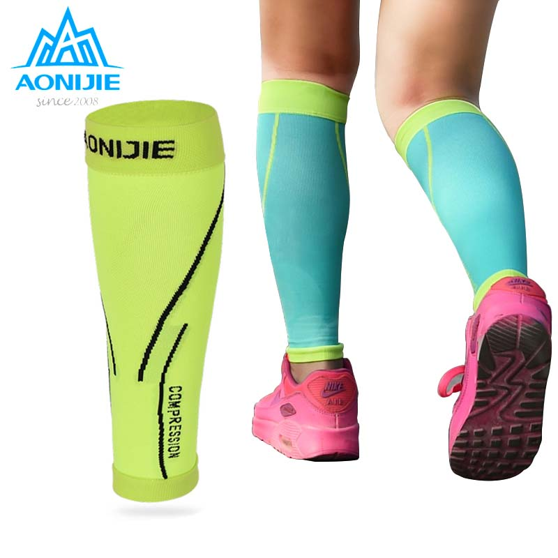 AONIJIE Running Socks Professional Compression Leg Sleeve Shin Guard Cycling Leg Warmers Football Basketball Sports Calf Support ombre circle calf length socks