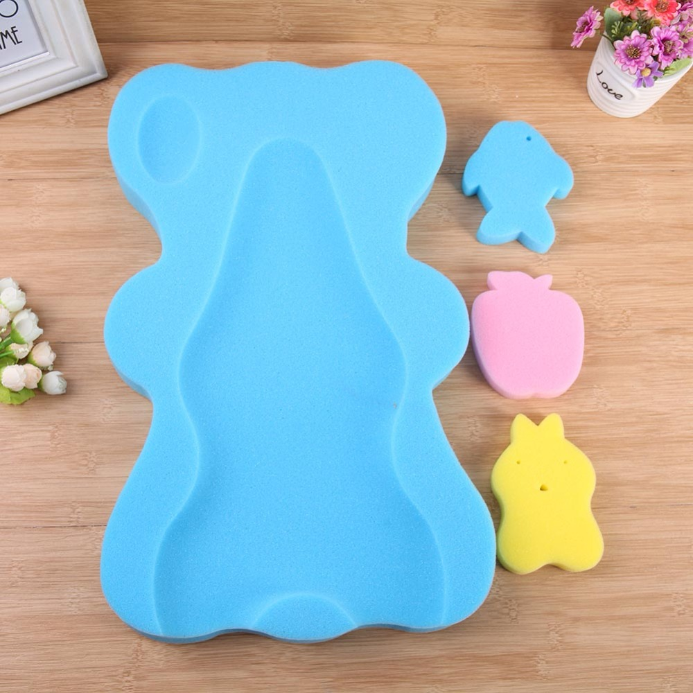 1 pcShower Cushion Funny Bath poolBaby Shower Sponge Cushion Bath Holder Mesh Pocket Newborn Seat Baby Bath Pad Soft Cushion Bed