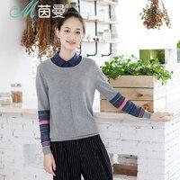 INMAN Literary Style Striped Long Sleeves Sweater Slim Cut Tops