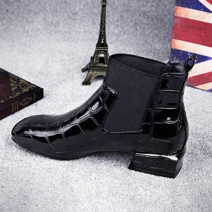 Noir De Tête Martin 2018 Nausk Talons Femmes Chaussures En À Bas Mode black Cuir Bottes Cheville Taille La red Carrée 35 Plus Velvet plus 42 Verni Aw1RHzq