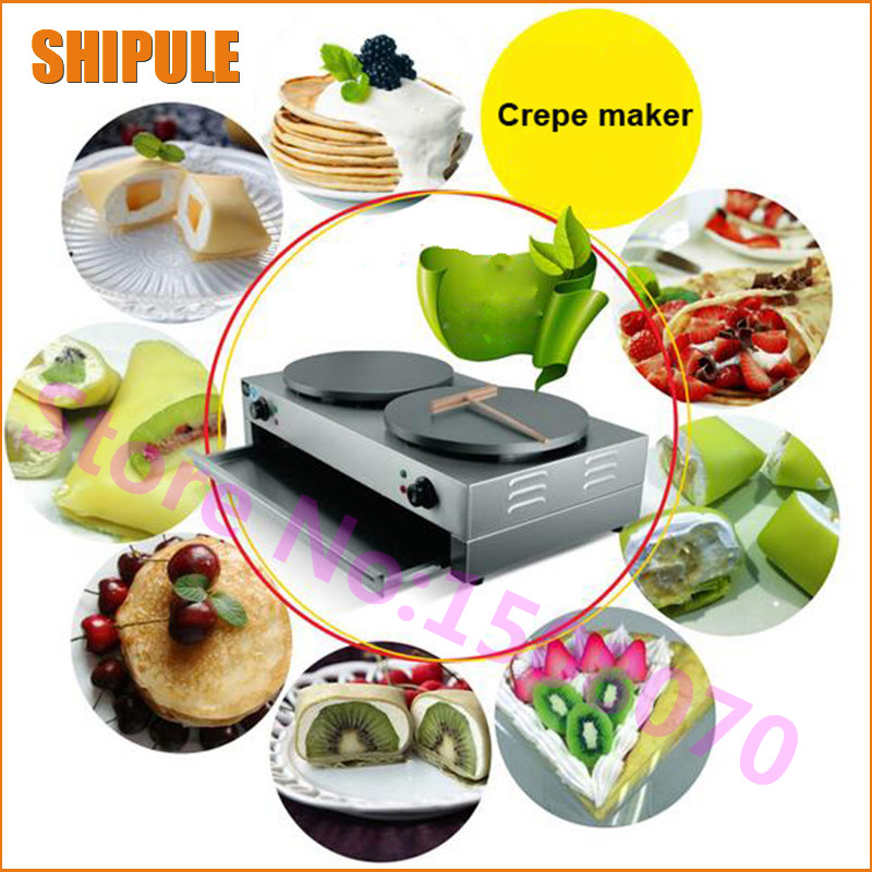 SHIPULE 2018 new commercial pancake machine electric griddle fruit pancake machine grains pancake crepe maker double oven three groups of kebab ovens commercial electric oven machine