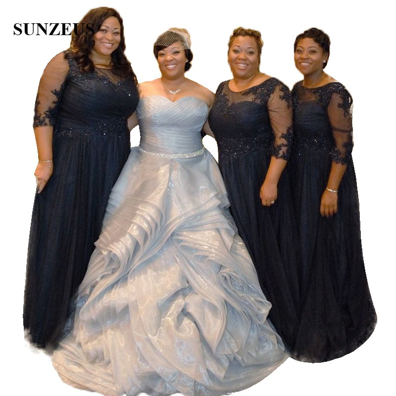 African Women   Bridesmaid     Dresses   Plus Size A-line Half Sleeve Long Wedding Guest   Dress   With Appliques Sequins Navy Blue Gown