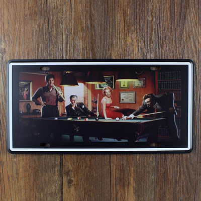 Night Snooker Car License Plate Vintage Tin Sign Bar Pub Home Kitchen Wall Decor Retro Metal