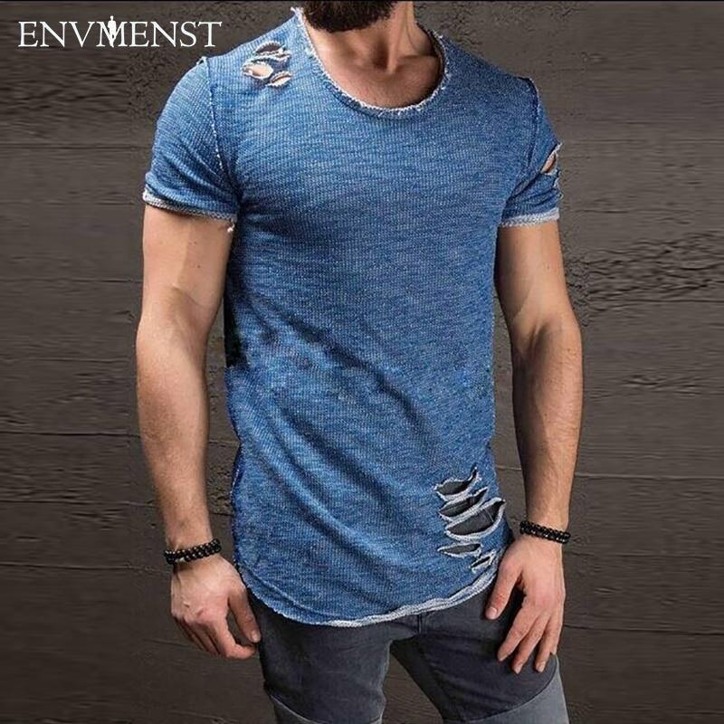2017 Envmenst T camisa dos homens do Algodão Do Vintage Rasgado Buraco Quadril Hop t-shirt Homens Moda Casual Top Tee Homens Mineral Lavado Activewears