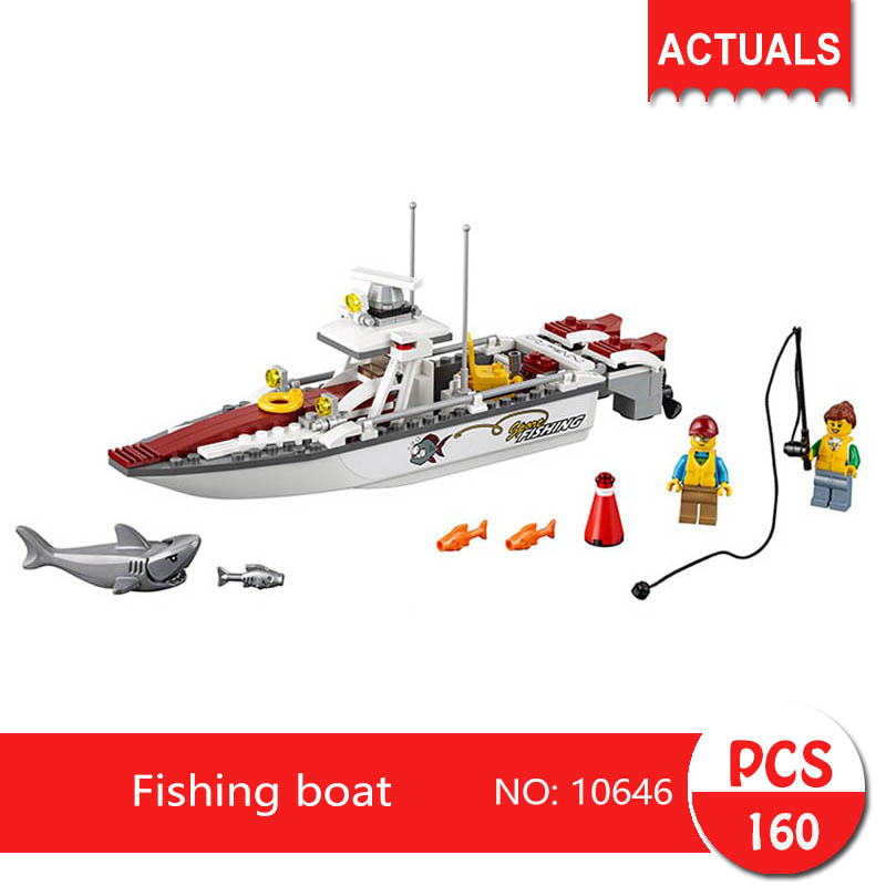 bela 10646 160Pcs City series Fishing boat Model Building Blocks Bricks Toys For Children Gift 60147 10646 160pcs city figures fishing boat model building kits blocks diy bricks toys for children gift compatible 60147