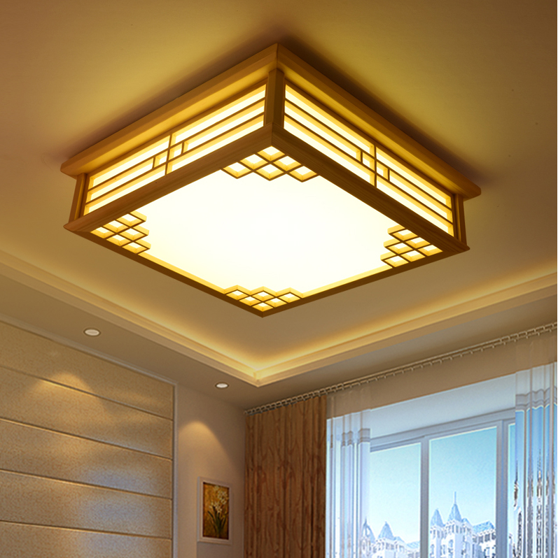 LED Japanese Sheepskin Paper Wooden LED Lamp LED Light Ceiling Lights Ceiling Lamp LED Ceiling Light For Bedroom Dinning Room willlustr wooden light japan style led wood ceiling lamp hotel home dinning room bedroom restaurant acrylic panel ceiling light