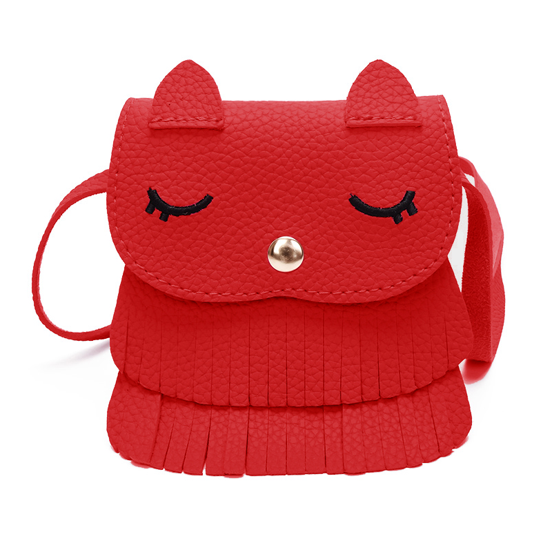 HCH-Fashion Boutique Kawaii Children Girls Tassel Small Cat Shoulder Messenger Bag Mini Coin Purses PU Leather Handbags red