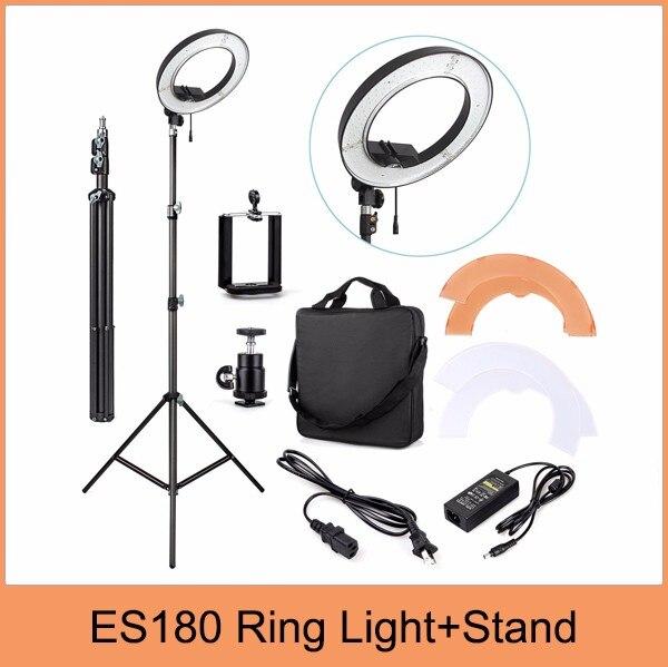 DHL ES180 180 LED 18 Stepless Adjustable Ring Light Camera Photo Video 180pcs LED 5500K Dimmable