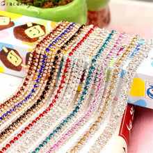 GraceAngie 1yd AB Multicolor Rhinestone Chain Claw Crystal Diamond Encryption Chain costume Clothes DIY Wedding Dress Accessory(China)