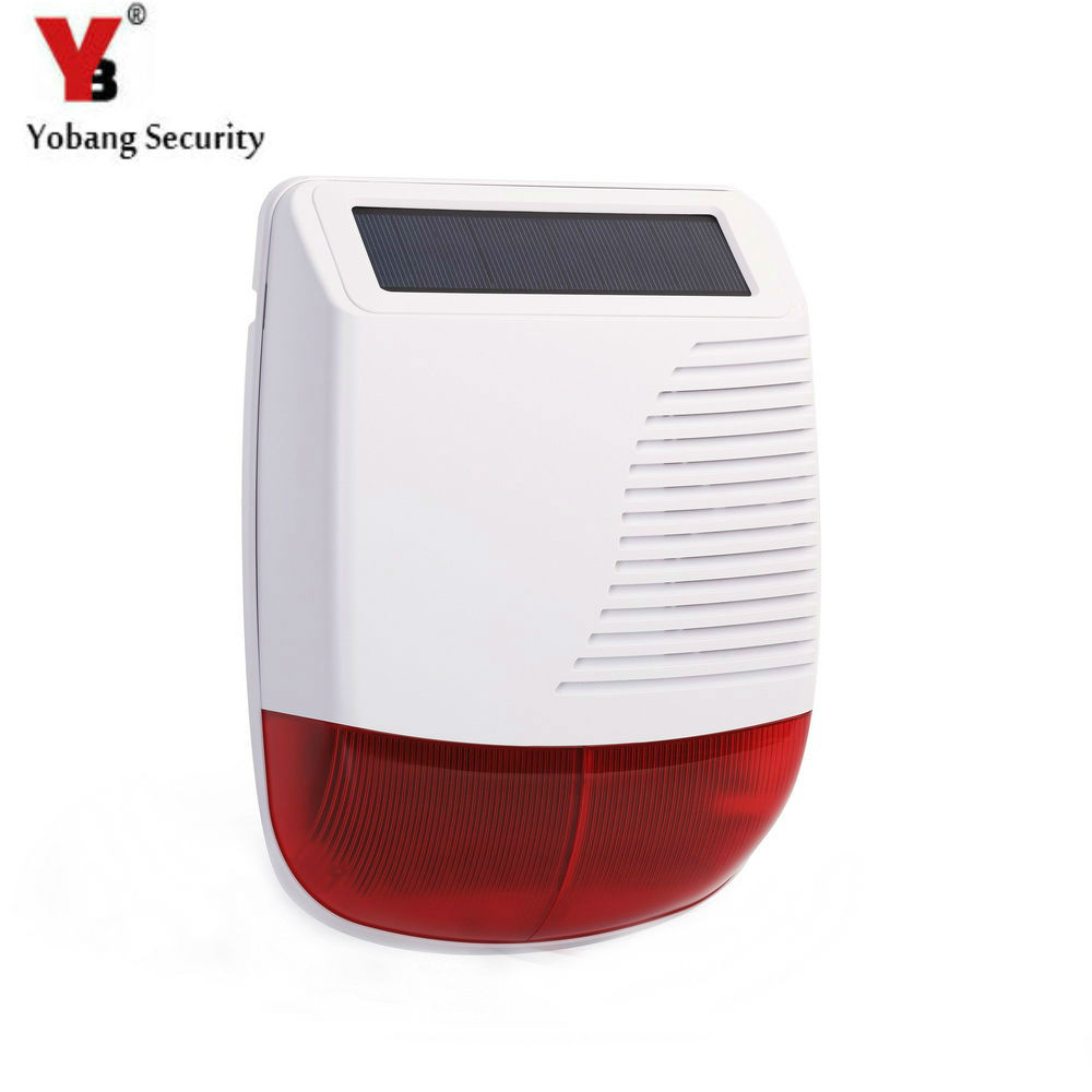 Yobang Security Wireless Outdoor Solar Siren For Alarm System Solar Powered Red Light Strobe Siren With Built-in Backup Battery