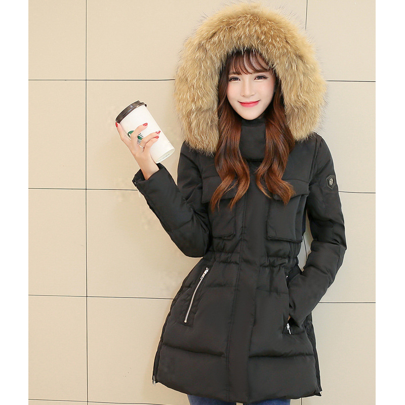 Fashion Slim Adjustable Waist Women winter coat 2017 Large Fur Collar Hooded Parkas Female Duck Down Jackets Long Overcoat qx415 2014 female new fashion waist thicken over knee parkas female long slim down jackets winter coat