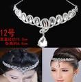 2016 Clear teardrop rhinestone pendant bridal tiara fashion wedding crystal headpieces hair forehead headband 1pcs/lot