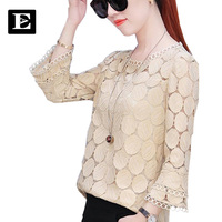 EvelingAsky Lace White Women Blouse Tops Long Sleeves Womenswear Casual T Shirts Shirt Hollow Out Open