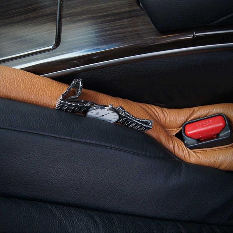 EAFC グレー黒ベージュブラウンカーシートクッション隙間ギャップストッパー Pu レザー漏れ防止プロテクター車のシートカバーパッド