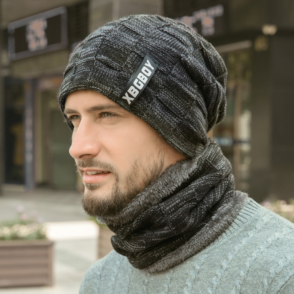 Winter Mens Hat Caps Knitted Wool Warm Scarf Set Thick Windproof Balaclava Multi Functional Hat Scarf Set For Male