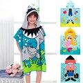 6-13 años los niños de dibujos animados bebé capucha toalla de baño albornoz algodón terry infantil kids baño wrap towel niño niños regalos bcs0004