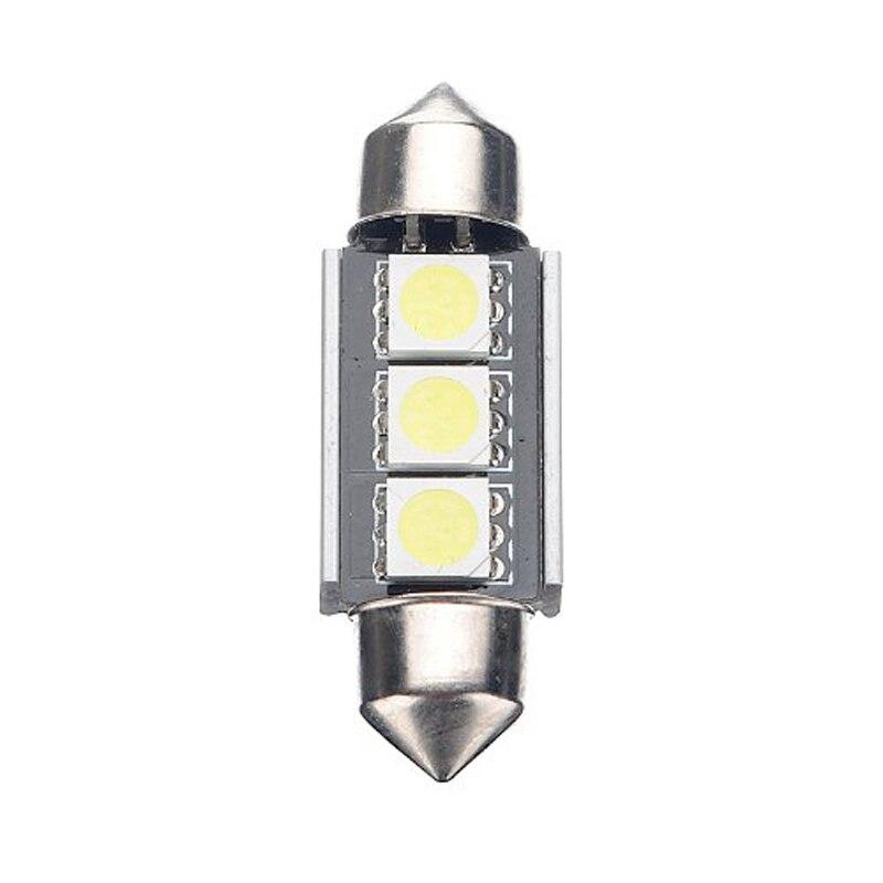 2pcs 36mm DC 12V Cold White 3 SMD LED Festoon Interior Dome Light Lamp Bulb For Car VS998