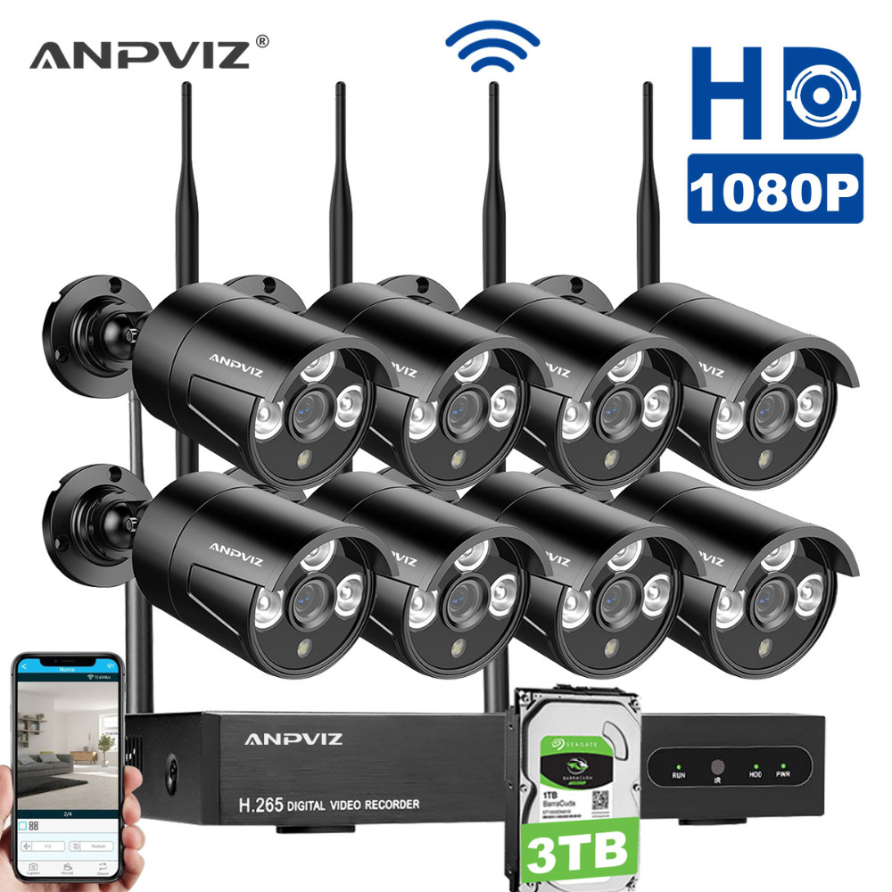 Anpviz 8CH 1080P HD WiFi NVR with (8) 1.0MP 1080P HD Wireless Outdoor Indoor Home Security Camera System Support Smartphone