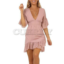 Cuerly 2019 summer chiffon dot dress women v neck ruffle asymmetrical mini dress boho beach chiffon dress L5