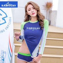 SABOLAY sunscreen swimsuit ladies long sleeved printed diving suits beach clothes fast dry surf clothes wholesale V713(China)