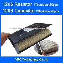 1206 SMD резистор 0R~ 10 м 1% 170valuesx25 шт = 4250 шт+ конденсатор 38valuesx25 шт = 950 шт 10PF~ 22 мкФ образец книги