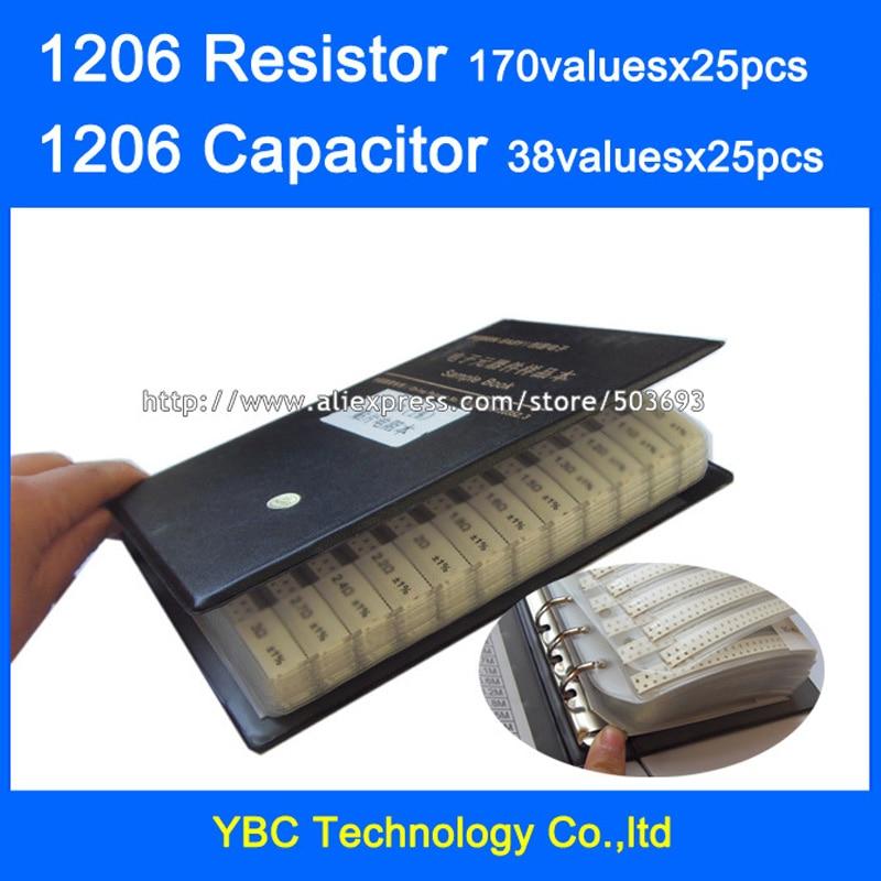 1206 SMD Resistor 0R~10M 10valuesx25pcs=4250pcs + Capacitor 38valuesX25pcs=950pcs 10PF~22uF Sample Book