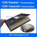 1206 SMD YAGEO Resistor 0R ~ 10 M 1% 170valuesx25pcs = 950 pcs = 4250 pcs + muRata Capacitor 38valuesX25pcs 10PF ~ 22 uF Amostra Livro