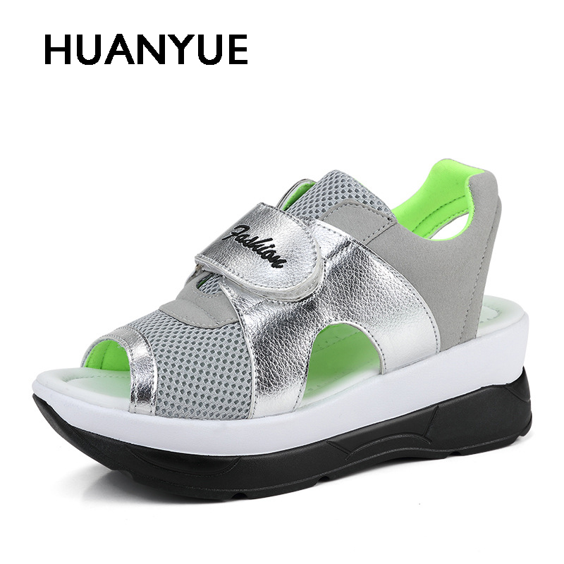 New Women Shoes Fashion Summer Womans Sandals Thick Sole Breathable Mesh Women Casual Shoes Slip-On Swing Wedges Shoes For Women new women sandals low heel wedges summer casual single shoes woman sandal fashion soft sandals free shipping