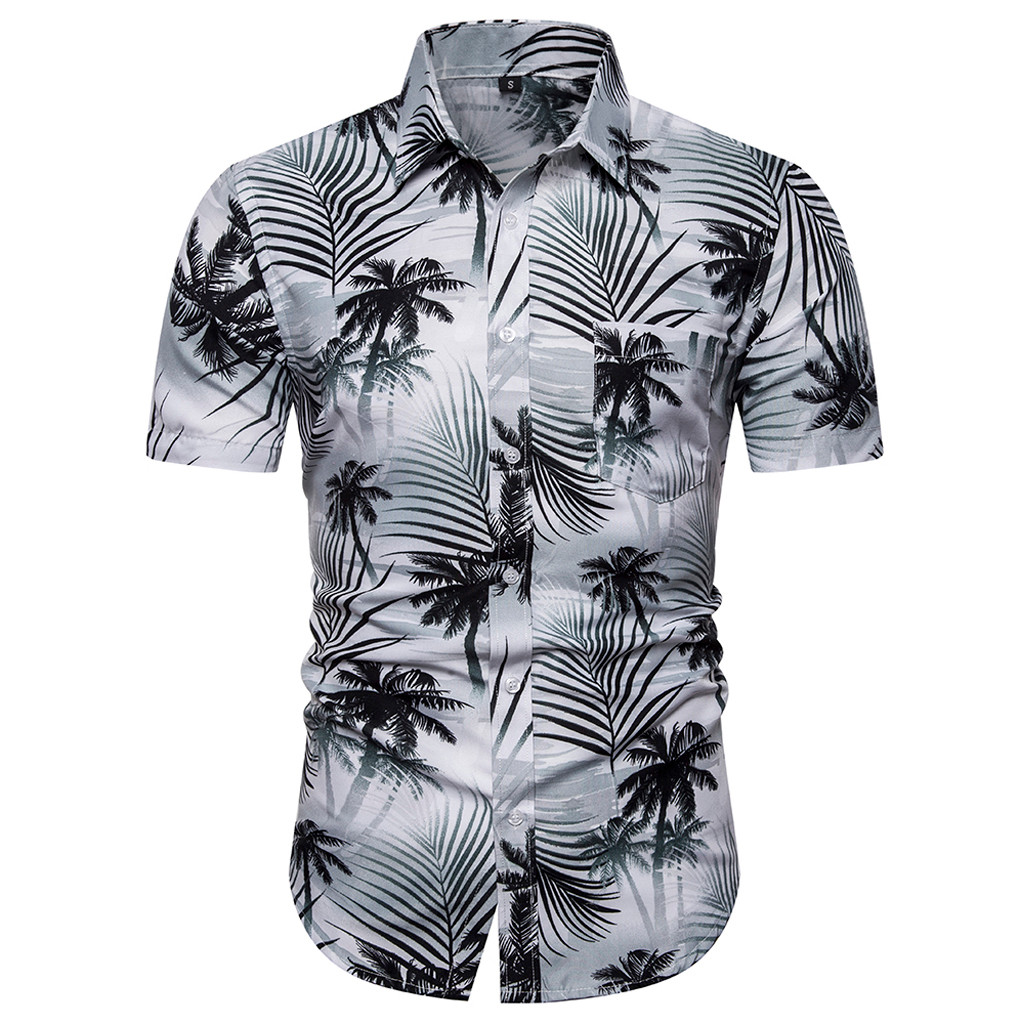 Summer Hawaiian Men Shirt Casual Men's Short Sleeve Shirt Casual Button Beach Quick Dry Blouse Top Streetwear Camisa Masculina
