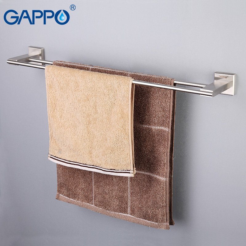 GAPPO Wall Mount Towel Bars Stainless Steel Towel Rack Bath Towel Hanger Holder Double Rails Storage Shelf Bathroom Hardware bath towel holder antique brass double bath towel rack holder bathroom storage organizer shelf wall mount