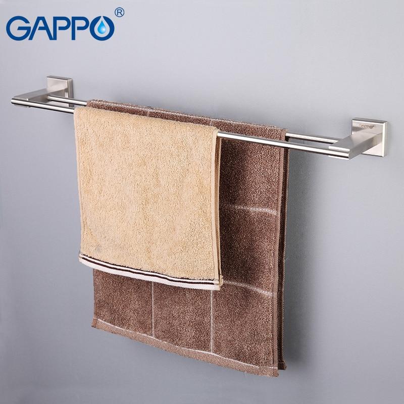 GAPPO Wall Mount Towel Bars Stainless Steel Towel Rack Bath Towel Hanger Holder Double Rails Storage Shelf Bathroom Hardware