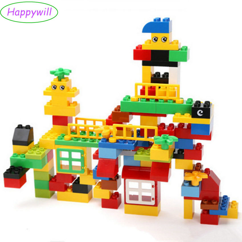 Happywill 100pcs Quality ABS Big Building Blocks Educational Toys Baby Block Toys Children Gift Compatible
