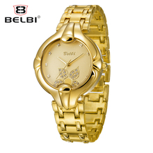 ФОТО pure gold beautiful dial design belbi brand watches female models diamond-studded four-leaf fashion leisure quartz wristwatches