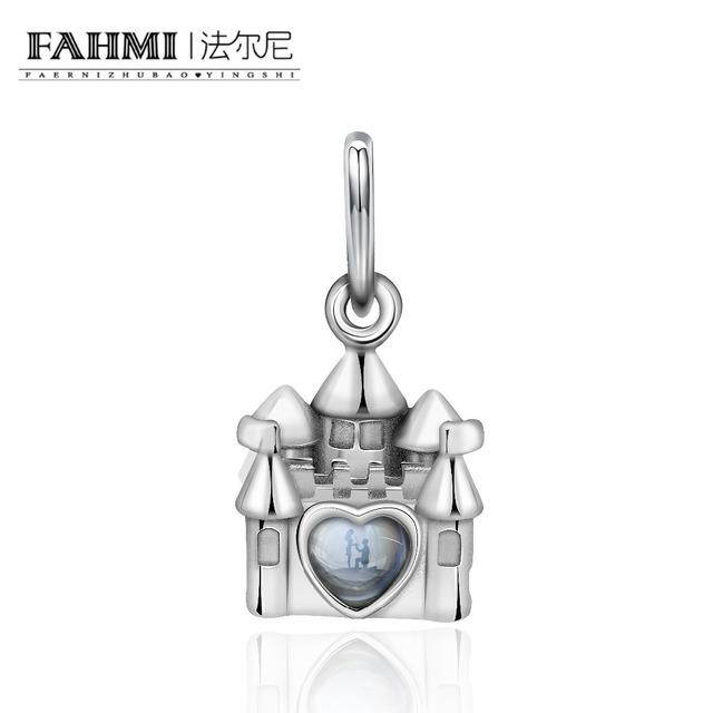FAHMI 100% 925 Sterling Silver Original Charm Retro Castle Courtship Valentine's Day Small Pendant Elegant Women's Jewelry Gift