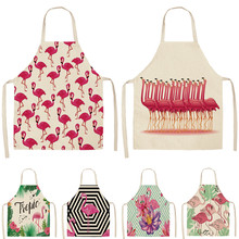 Aprons Kitchen-Accessories Linen Cooking-Baking Flamingo Coffee-Shop Cleaning Cotton