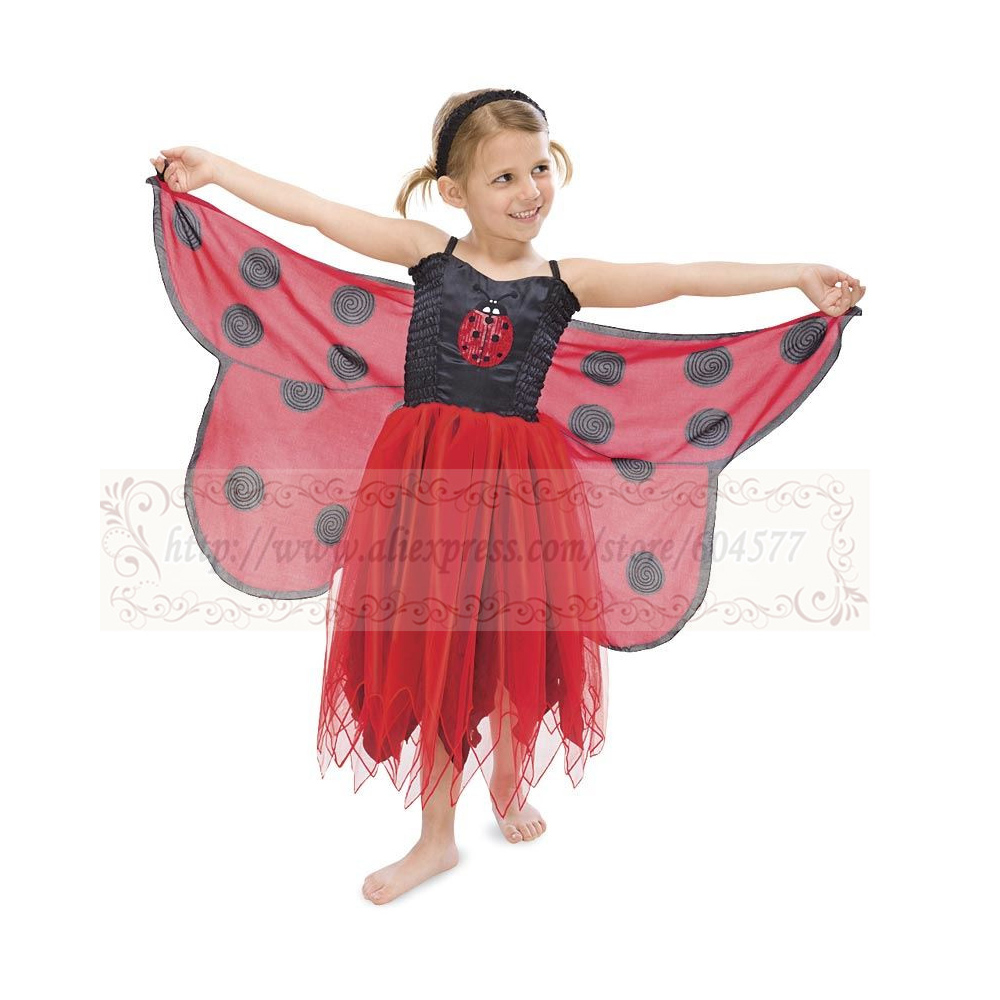 Fanciful Fabric Ladybug Wings Girls Costumes for Halloween Dress Up Clothes, Pretend Play, Gift Idea