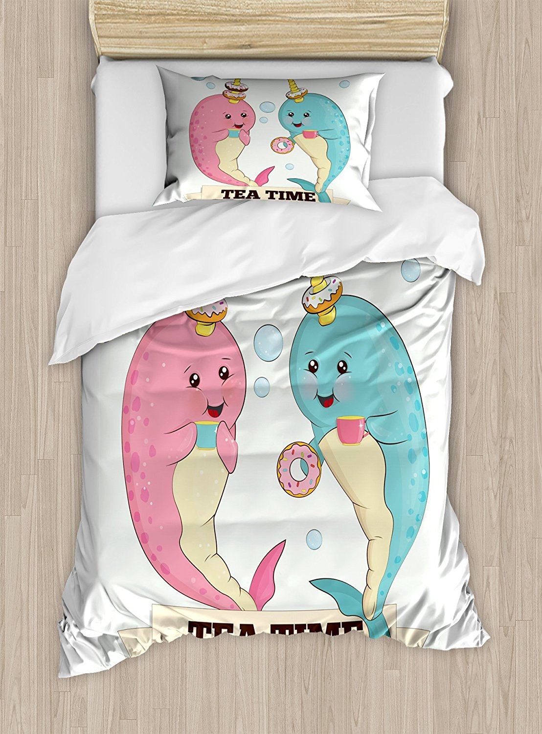 Narwhal Duvet Cover Set Tea Drinking Whales Ocean Unicorn with Abstract Bubbles Backdrop 4 Piece Bedding Set