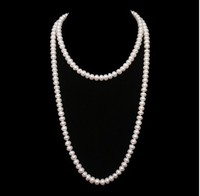HOT CHRISTMAS PROMOTION FREE SHIPPING 125cm Long Pearl Costume Jewelry 7 8mm Size Natural Pearl Necklace