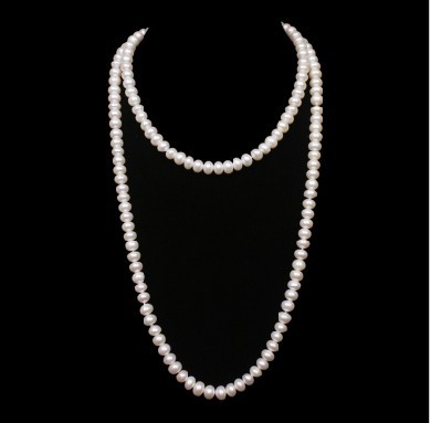 """Freshwater Pearl Long Single Strand Necklace-2 Pearl Sizes 50/"""" White"""