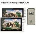 Домашний 9 дюймов 2 монитора цветной видеодомофон система ночного видения широкоугольная Водонепроницаемая инфракрасная камера для безопа...