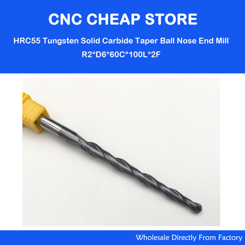2PC R2.*D6*60*100L*2F HRC55 Two Long flute Tungsten solid carbide NANO Coated Tapered Ball Nose End Mill taper and cone Bit wood цена
