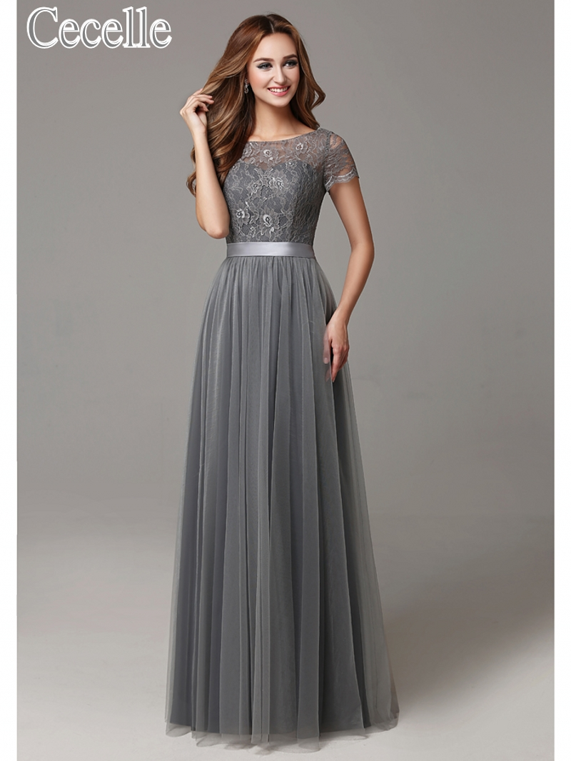 2017 Grey Long Modest Lace Tulle Floor Length Women