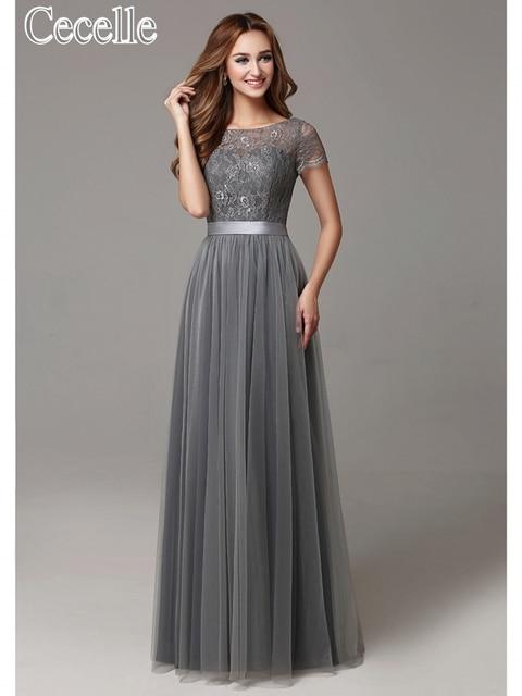 d8cd0d5495 2017 szary długie skromne koronki tiul piętro długość kobiety druhna  sukienki krótkie rękawy Sheer dekolt formalna