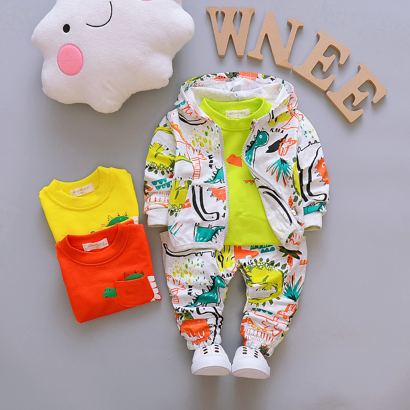 Retail!2018 Autumn Boys Clothes Sets Children Coats Jacket +T-Shirt+Pants 3 pcs. Children Sports Suits kids Girls Boys Clothes