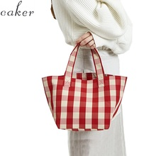 Women canvas totes bag women beach large big plaid red check blue color 2018 summer fashion drop shipping wholesale