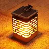 Lámpara Solar LED parpadeante vela sin llama parpadeante lámpara de llama impermeable lámpara de jardín colgante de luz Solar linterna