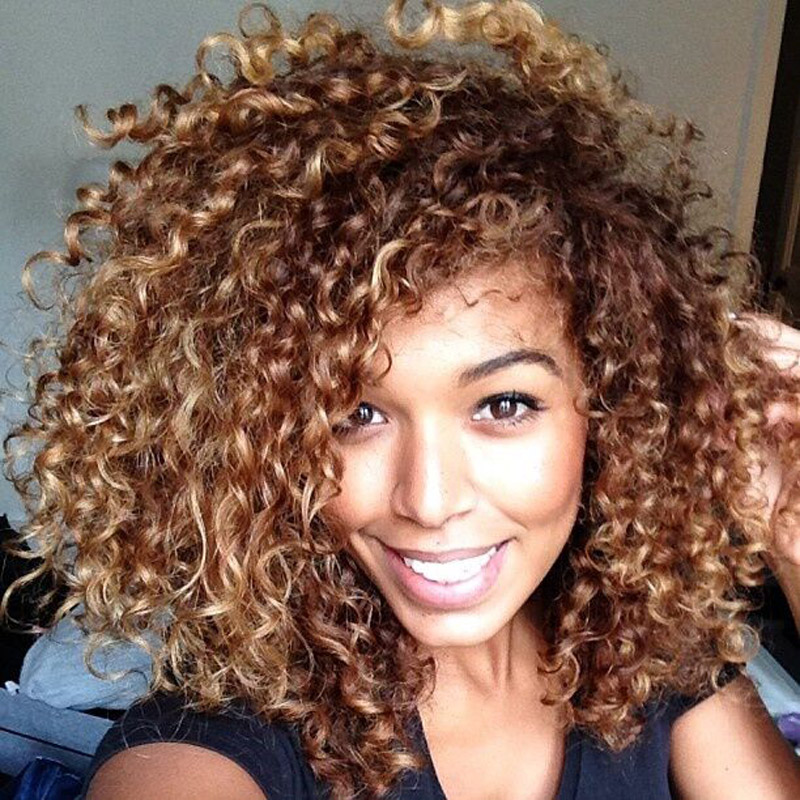 Curly black hair with blonde highlights the best black hair 2017 fluffy black women wigs short pixie brown blonde highlights pmusecretfo Image collections