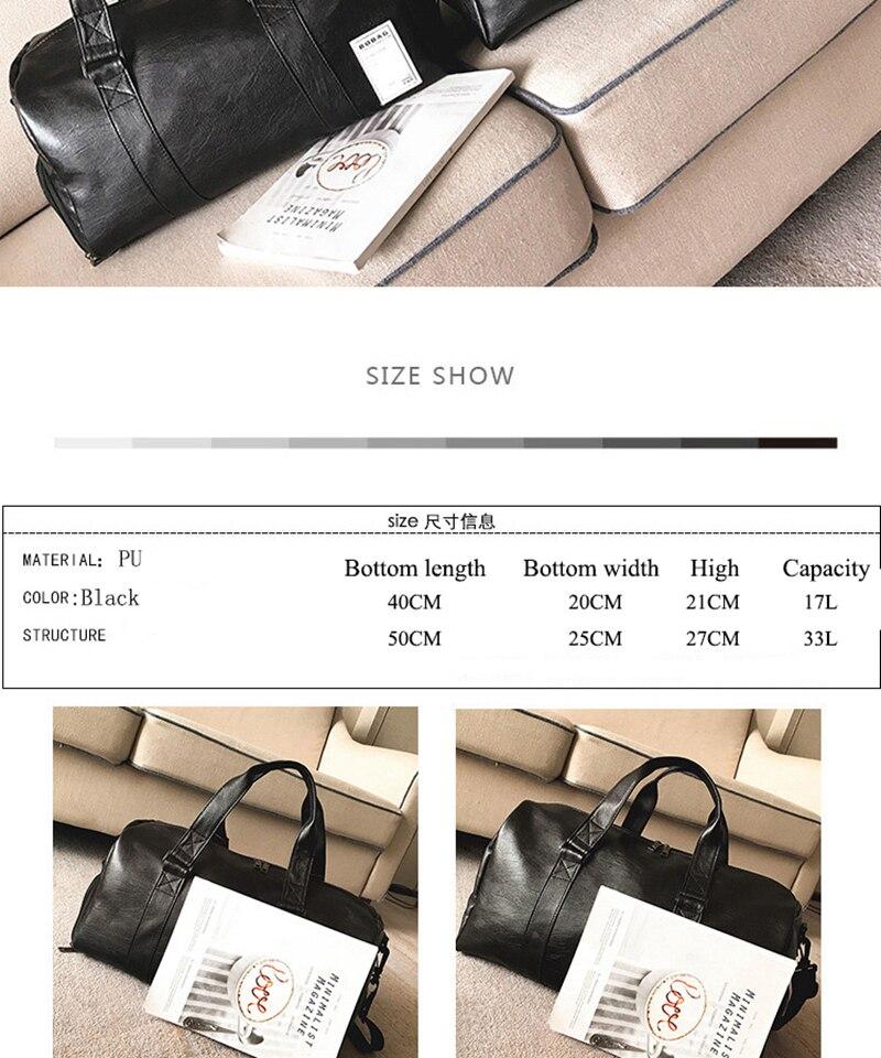 Gym Bag Leather Sports Bags Big MenTraining Tas for Shoes Lady Fitness Yoga Travel Luggage Shoulder Black Sac De Sport XA512WD (6)