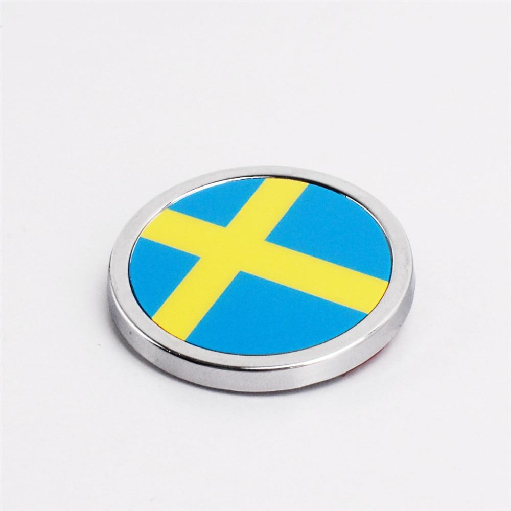 3D Aluminium Sweden Swedish Flag Car Sticker Emblem Badge x1 For Volvo Or Saab