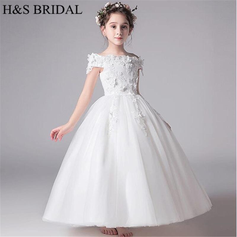 H & S mariée blanc élégant fleur fille robes dentelle robe de bal robes de reconstitution historique filles robe de fleur robes